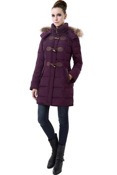 12080119cd145 Genuine raccoon fur trims the detachable hood while looped faux-horn  toggles. Luxury Lane · Women s Down Puffer Coats