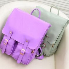 Korean Stylish Candy Color PU Leather Women Men Backpack College School Book Bag[Pink]