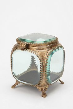 Beveled Glass Jewelry Box- I think it would be cute in the bathroom for qtips and cottonballs as well as makeup sponges!