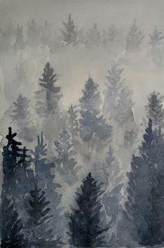 #watercolours #valais #switzerland #winter #forest www.sandragianesini.com