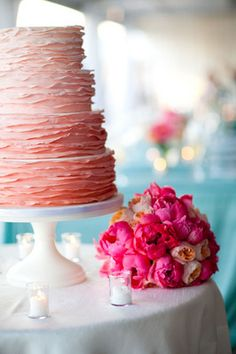 Ombre!  What a gorgeous cake!!  Weddings : Philippa Tarrant Floral Design