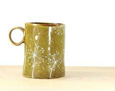 Hand Painted Ceramic Mug Olive green tea cup Dandelion  Rustic Coffee Mug Minimal  Spring  Kitchen Decor.
