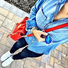 IG @mrscasual <click through to shop this look> Chambray shirt.  Skinny jeans.  Adidas super star sneakers.  Red phillip lim pashli.  Ray ban blue mirror aviators.