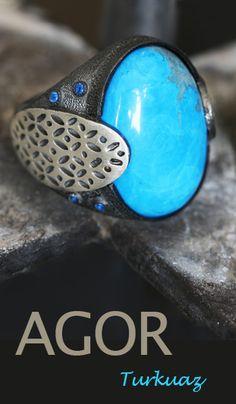 Firuze (Turkuaz) Taşlı El Yapımı Erkek Gümüş Yüzük  #ring #silver #turquoise #men #handmade