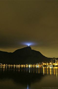 Rio de Janeiro by Night with Christ the Redeemer Statue lit up.