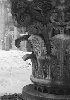Corinthian,abandoned gardens of The Guild Inn.Toronto,ON,Canada