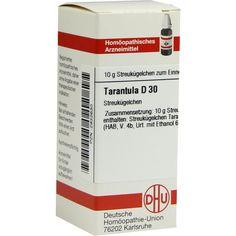 TARANTULA D 30 Globuli:   Packungsinhalt: 10 g Globuli PZN: 02932630 Hersteller: DHU-Arzneimittel GmbH & Co. KG Preis: 5,50 EUR inkl. 19…