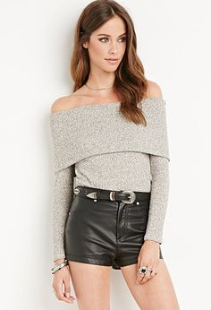 Interesting design, haven't seen anything quite like it - Ribbed Off-the-Shoulder Top | Forever 21