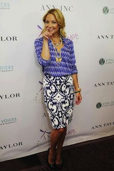 Mixing Patterns - always a good idea. Kate wearing Ann Taylor repinned from Living in Color