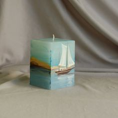 Hand Painted Candle Cube Lonely Sailboat Painted by LessCandles, $8.00
