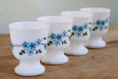 Vintage 1970s French Arcopal Veronica Pattern Egg Cups