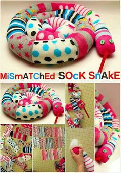 Sock snake - could make this with mismatched socks or with old sweaters Sock Crafts, Sewing Crafts, Diy Crafts, Diy Craft Projects, Sewing Projects, Crafts For Kids, Sock Snake, Lost Socks, Sock Dolls
