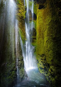 Waterfall in a hidden canyon by Dag Ole Nordhaug on 500px.. Iceland..