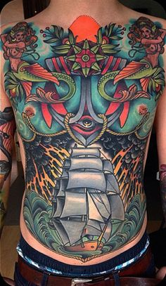 Discover the top 105 best full-body tattoo ideas for men including black/gray and full-color tattoos as well as designs featuring skulls, buddhas and more. Mens Body Tattoos, Torso Tattoos, Life Tattoos, Body Art Tattoos, Sleeve Tattoos, Tattoos For Guys, Ship Tattoos, Hand Tattoos, Full Back Tattoos