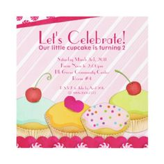 Birthday Party Invitation Customizable With Your Photo Just Replace Mine Whimsical Cupcake Features Four Delicious Cupcakes