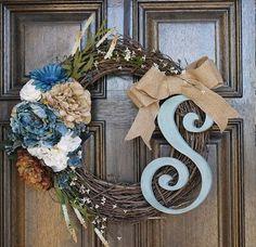 Spring wreath, Summer wreath, Year round wreath, Hydrangea monogram wreath via Etsy