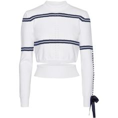 Fendi Cutout faille-trimmed striped pointelle-knit sweater (€805) ❤ liked on Polyvore featuring tops, sweaters, knitwear, white top, cutout tops, stripe sweaters, striped top and polka dot sweater