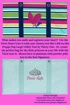 I love that you can personalize these bags in a way that is meaningful to you or your recipient!  These Large Utility Totes by Thirty-One aren't just for toting things around.  They are great for organizing your home too!  Store your board games in a tote instead of on open shelves.  Have your daughter place all her dress-up clothes in a tote designed just for her. Large Utility Tote, 31 Bags, Dress Up Outfits, Thirty One Gifts, Product Ideas, Open Shelves, Little Princess, Make You Smile, Board Games