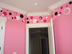 multicolored vinyl polka dots in a kid's room