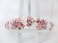 Dusty pink and white flower crown  floral head wreath by musefleur