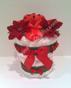 Christmas Poinsettia Diaper Cake - Holiday - Diaper Cakes - Baby shower gift deas
