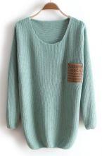 Green Long Sleeve Letters Pocket Embellished Sweater $30.24