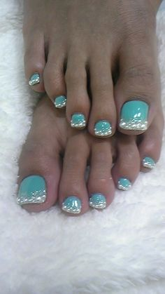 Diamond French toe nails. Would use black instead of blue