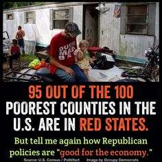 95 out of the 100 poorest counties in the US are in Red States. Tell me again how Republican policies work! #FlipCongress