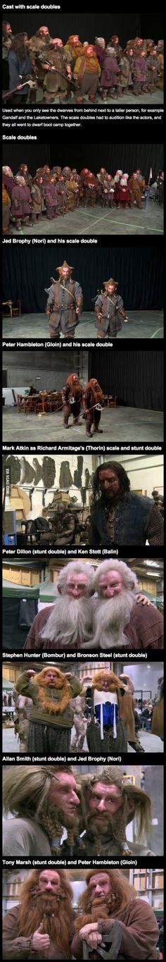 """The Hobbit"" cast with their scale and stunt doubles"