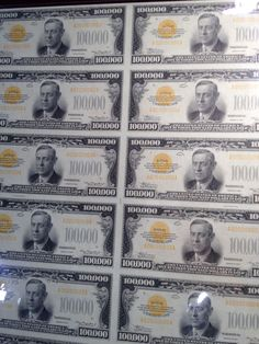 The 100,000 Dollar Bill was issued by the US Treasury in 1934.  The #Gold Certificate features President Woodrow Wilson on the obverse view.  This note is the biggest denomination of US #currency ever made and was used bank #Federal Reserve Banks for interbank transactions.