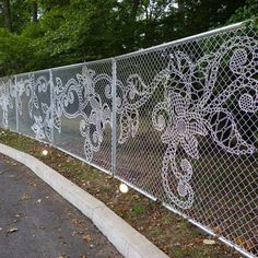 Lace Chain Link Fence   If I must get a chain fence ever it shall be this one..