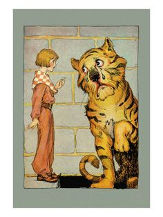 Wizard of Oz - Hungry Tiger and Little Prince 24 x 36 Gallery Wrapped Canvas Wall Art Painting Frames, Painting Prints, Canvas Wall Art, Canvas Prints, John R, Vintage Artwork, Vintage Illustrations, Wizard Of Oz, Artwork Prints