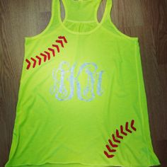Monogrammed softball razor tank by heavenscentinc on Etsy, $25.00 @Jacquelyn Cole Smith