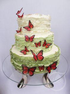 Torta de boda con mariposas