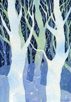 Original watercolor, Swaying Trees