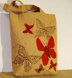 SPRING TIME Fashionable canvas tote bag with butterflies Eco by Apopsis