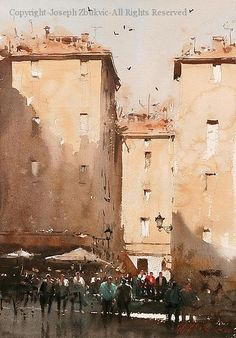 Sunny Afternoon, Rome - Watercolor by Joseph Zbukvic