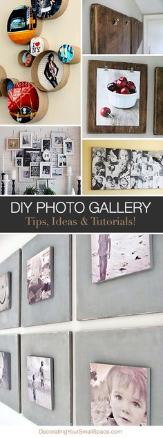 Create a DIY Photo Gallery with Style Lots of Ideas & Tutorials! Photo Craft, Diy Photo, Decoration St Valentin, Home Projects, Projects To Try, Photowall Ideas, Home And Deco, Photo Displays, Diy Wall