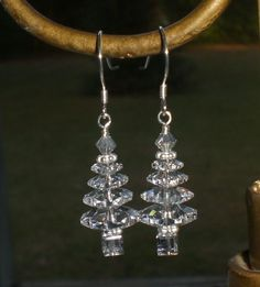 Christmas Clear Crystal Tree Sterling Earrings Made With Swarovski Elements