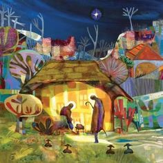 """The Nativity by Mike Torevell. Banner 36"""" x 36"""" / 91 x 91cm. Order ref: BAN901 £130.00. Also available as a Foamex board size 24"""" x 24"""" / 61 x 61cm. Order ref: FMMT02 / £62.95. Or order as part of a three banner frieze BAN908 £395 + VAT = £474.00 or Foamex board set FMMT09 £175.00 + VAT = £210.00"""