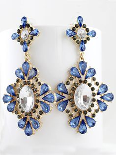Blue Drop Gemstone Gold Flower Earrings