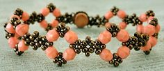 Linda's Crafty Inspirations: Bracelet of the Day: Double Diamond - Coral Pink. This is a combination of two free patterns. The discussion includes how to get those patterns and why the changes were made ~ Seed Bead Tutorials