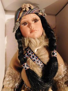 Native American Indian Porcelain Doll 20'' Tall w/ Baby in Papoose #94 of 5000