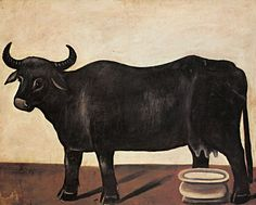 Black buffalo on a white background (part of diptych) - Niko Pirosmani Bull Cow, Folk Dance, Art Database, Naive Art, Animal Paintings, Painting & Drawing, Moose Art, Sculpture, Statue