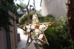 "Mirror Mosaic 8"" Gold and Silver Star Patchwork Suncatcher"