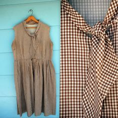 1960s brown GINGHAM day dress lxl by MediaVueltaVintage on Etsy, $28.00