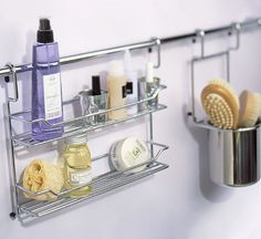 Stylish Bathroom Storage Ideas: Repurpose a kitchen storage bar for the bathroom. Hang it by the tub to have all your necessities close at hand.
