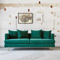Sophisticated, elegant, and super comfortable Gus* Modern Margot Sofa in beautiful Velvet Spruce fabric with gold legs!
