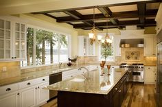 Traditional Kitchen with Simple granite counters, Coffered ceiling, Glass panel, Arizone tile - st. cecilia rio granite