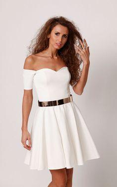 Sukienka rozkloszowana ekri EMMA